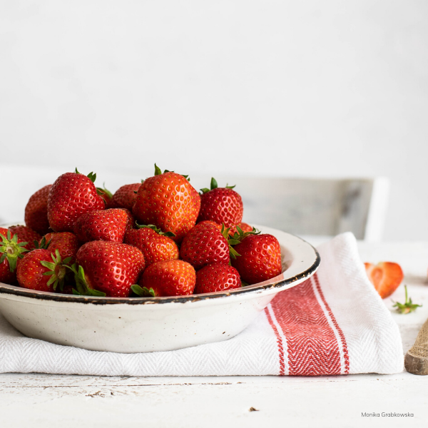 Strawberries on table for fruit kabob breakfast idea