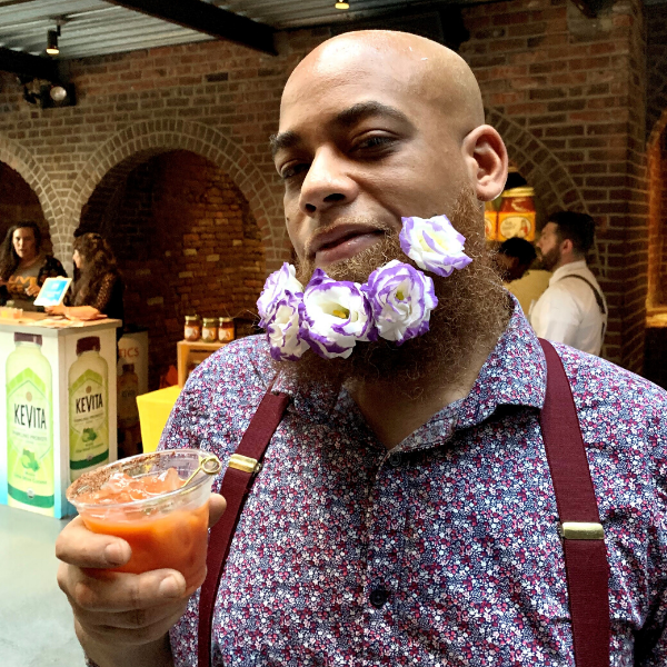 Man with Flower Beard and a Toma Bloody Mary