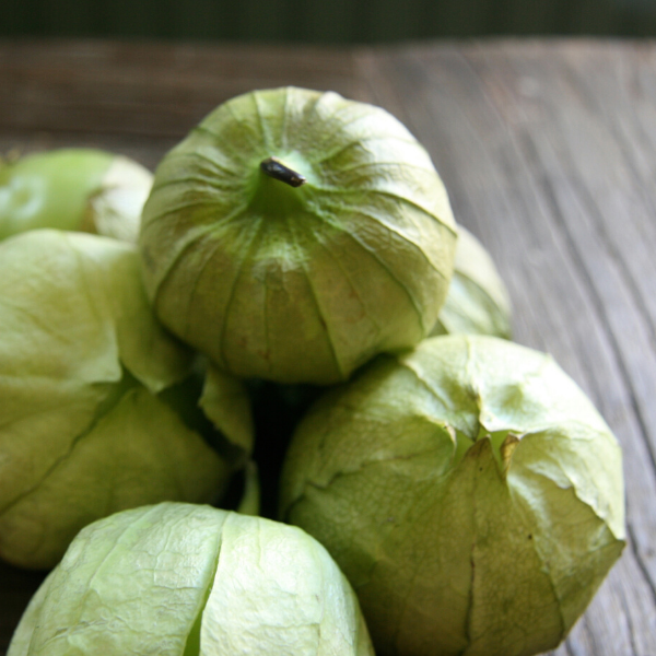 Tomatillos on a kitchen table