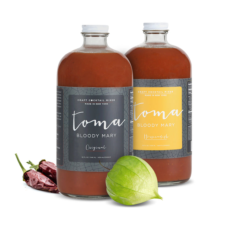 Toma Bloody Mary Mixer - Variety Pack - Original/Horseradish (32oz) 2-PACK - Toma Bloody Mary Mixers