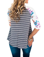 Women Floral Print Raglan Sleeve Crew Neck Shirt