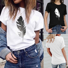 Short-Sleeved O-Neck Summer Top T Shirts Vogue Leaf Print