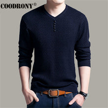 Mens Sweater / Casual V-Neck Pullover Long Sleeve Shirt /Knitted Cashmere Wool