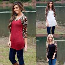 Women T Shirts Loose Long Sleeve Leopard Printing Splicing Shirt Casual Round Neck Tops Black , White , Red