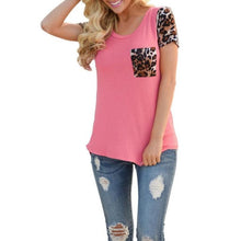 Fashion Women Casual T Shirts Tops Spring short sleeve Leopard Splice Printing Pocket Round Neck Pullover Tops T Shirt