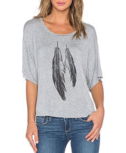 Womens Street Style Feather Pattern T-shirts