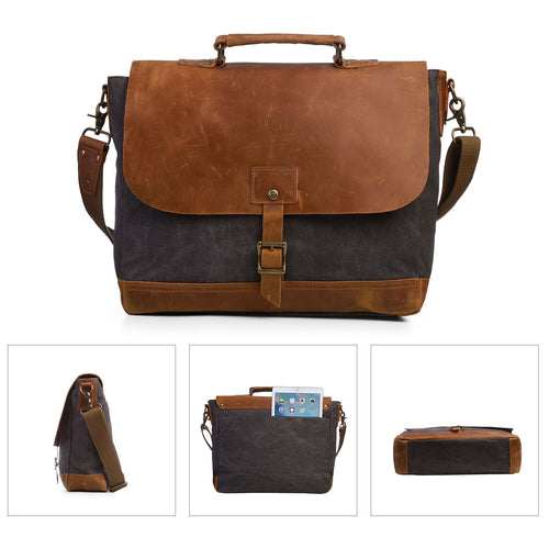 Men's Canvas Laptop Briefcase Handbag - Compartment for 15.6