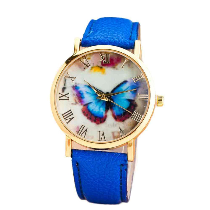 Womens Butterfly Style Leather Band Quartz Wrist Watch