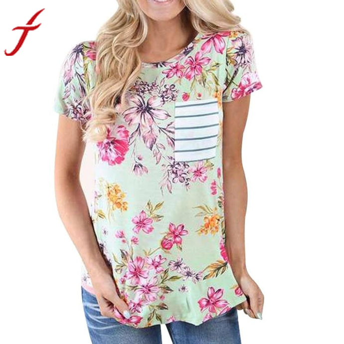Fashion Inspired Deann Lanman Women Green T Shirt Short Sleeve Flower Printing Casual Striped Tops Shirt With Pock