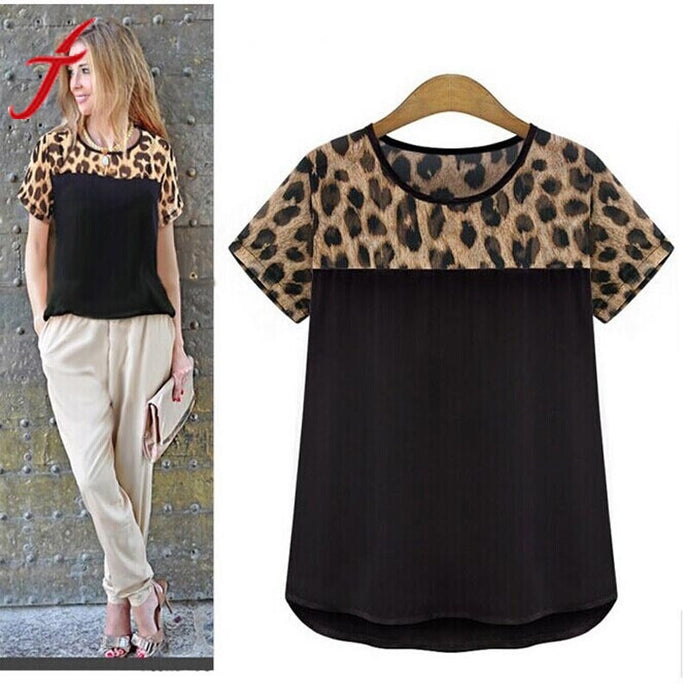 Fashion Women Casual Blouse Short Sleeve Round Neck Leopard Print Top