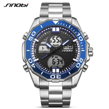SINOBI dual display LED digital men's steel waterproof sports watch in 3 colors