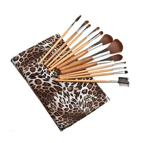 12 Piece Leopard Skin Brush Set In Flat Case