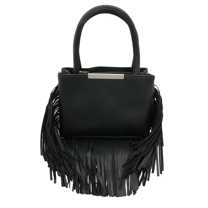 Black Vegan Leather Handbag with Long Fringe