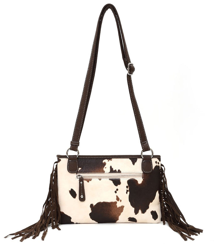 Cow Print Cowgirl Shoulder Bag with Fringe