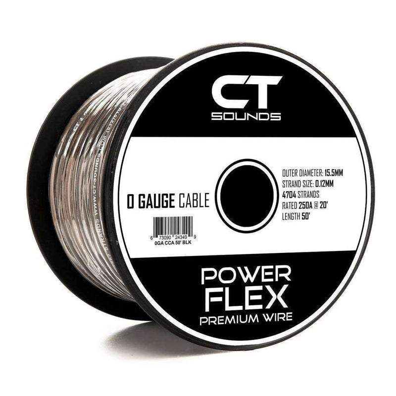 PRE-ORDER -- 0GA CCA Black Wire 50 Feet Spool Wiring- CT Sounds Car Audio