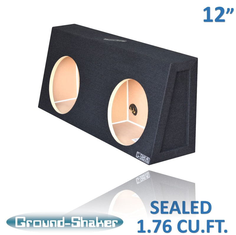 "Black 12"" Dual Sealed Sub Box for Regular Cab Trucks Subwoofer Box- CT Sounds Car Audio"
