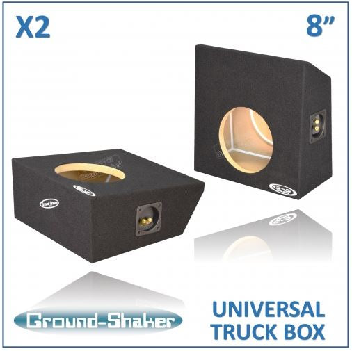 "2 Black 8"" Single (2 Pieces) Sealed Multifunctional Truck Boxes Subwoofer Box- CT Sounds Car Audio"