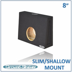 "Black 8"" Single Sealed Slim / Shallow Mount Sub Box, Fits Regular Cab Trucks Subwoofer Box- CT Sounds Car Audio"