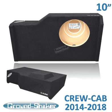 "Black 10"" Single Sealed Sub Box Fits Chevy Silverado & Gmc Sierra Crew-Cab 2014-2018 Subwoofer Box- CT Sounds Car Audio"