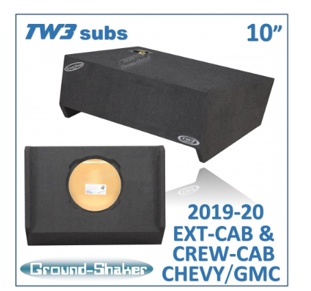 "Black 10"" Single Sealed Sub Box, Fits Chevy Silverado & Gmc Sierra Ext & Crew-Cab 2019-2020 12 Inch Subwoofer Box- CT Sounds Car Audio"