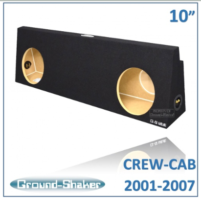 "Black 10"" Dual Sealed Sub Box, Fits Chevy Silverado & Gmc Sierra Crew-Cab 2001-2007 Subwoofer Box- CT Sounds Car Audio"