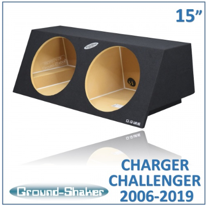 "Black 15"" Dual Sealed Sub Box, Fits Dodge Charger 2006-2019 & Challenger 2008-2019 Subwoofer Box- CT Sounds Car Audio"