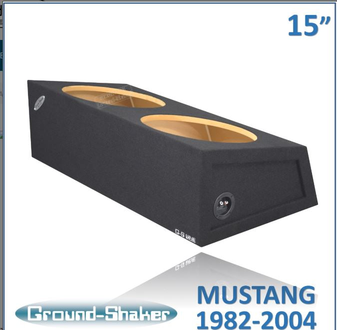 "Black 15"" Dual Sealed Sub Box, Fits Ford Mustang Coupe 1982-2004 Subwoofer Box- CT Sounds Car Audio"