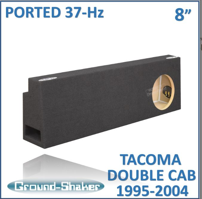 "Black 8"" Single Ported Sub Box, Fits Toyota Tacoma Double-Cab 1995-2004 Subwoofer Box- CT Sounds Car Audio"