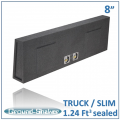 "Black 8"" Dual Sealed Slim Sub Box, Fits Regular Cab Trucks Subwoofer Box- CT Sounds Car Audio"