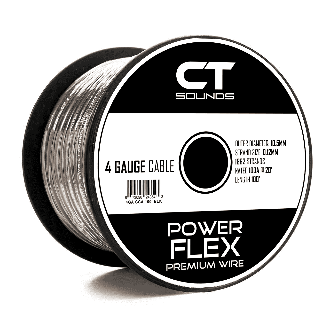 CT Sounds | 4GA CCA Black Wire 100 Feet Spool