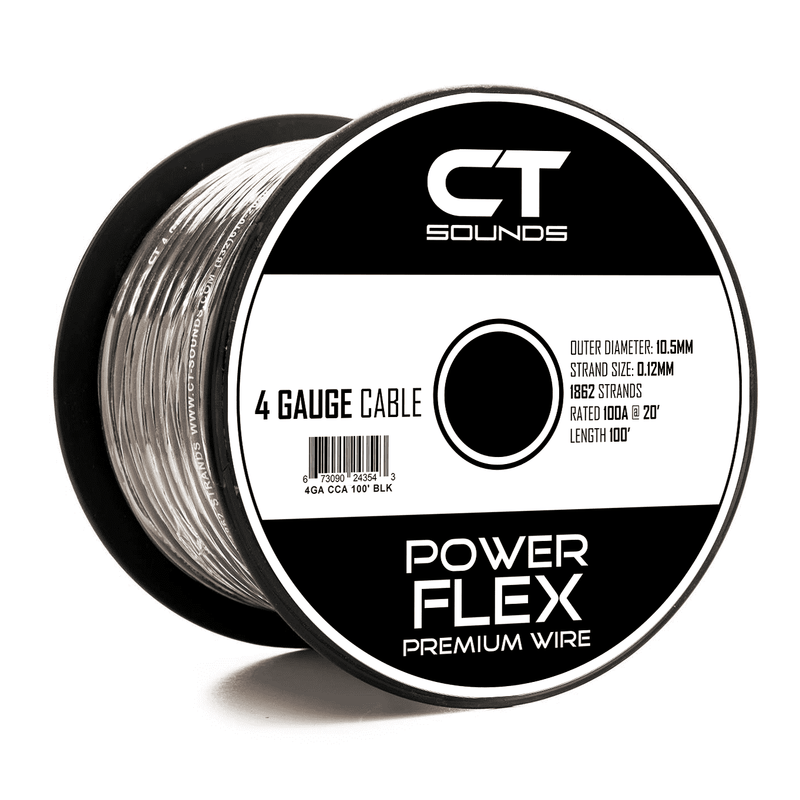 4GA Black Power Wire 100 Feet - CT SOUNDS