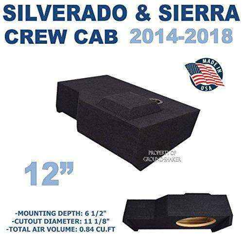 "Fits Chevy Silverado & Gmc Sierra Crew-Cab 2014-2018 12"" Single sub box - CT SOUNDS"