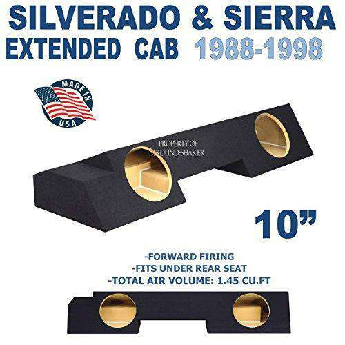"Chevy Silverado & Gmc Sierra Extended-Cab 1988-1998 10"" Dual Sealed Sub Box Subwoofer Box- CT Sounds Car Audio"