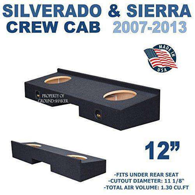 "Fits Chevy Silverado & Gmc Sierra Crew-Cab 2007-2013 12"" Dual Sealed Sub Box - CT Sounds Car Audio"
