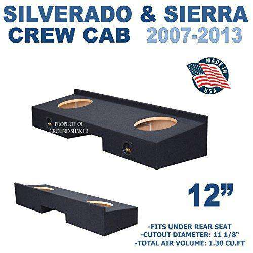 "Fits Chevy Silverado & Gmc Sierra Crew-Cab 2007-2013 12"" Dual Sealed Sub Box Subwoofer Box- CT Sounds Car Audio"