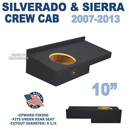 "Fits Chevy Silverado & Gmc Sierra Crew-Cab 2007-2013 10"" Single Sealed Sub Box - CT SOUNDS"