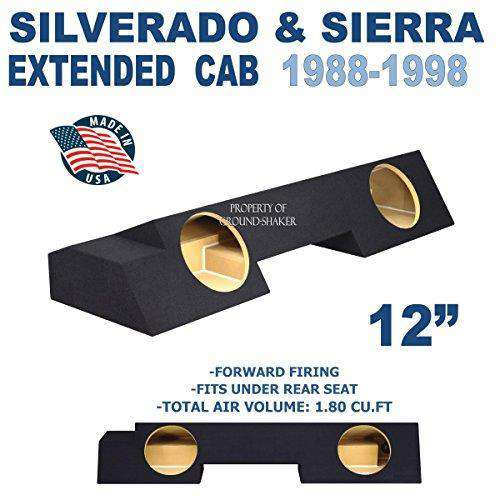 "Chevy Silverado & Gmc Sierra Extended-Cab 1988-1998 12"" Dual Sealed Sub Box Subwoofer Box- CT Sounds Car Audio"
