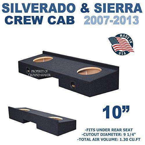 "Fits Chevy Silverado & Gmc Sierra Crew-Cab 2007-2013 10"" Dual Sealed Sub Box Subwoofer Box- CT Sounds Car Audio"