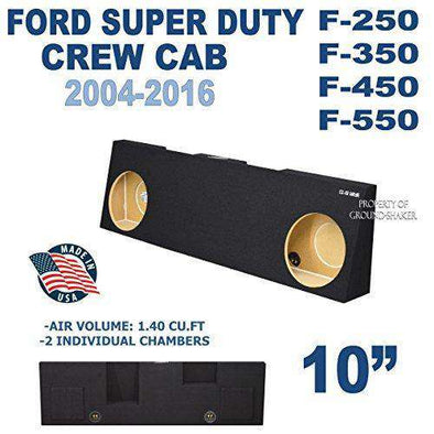 "Ford F250 To F550 Super Duty Crew-Cab With Or Without Power Window 2004-2016 10"" Dual Sealed Sub Box - CT Sounds Car Audio"