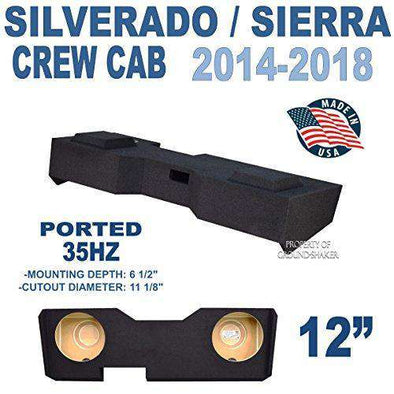 "Chevy Silverado & Gmc Sierra Crew-Cab 2014-2018 12"" Dual ported sub box - CT SOUNDS"