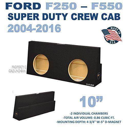 "Fits Ford F250 To F550 Super Duty Crew-Cab With Or Without Power Window 2004-2016 10"" Dual Sealed Sub Box - CT SOUNDS"