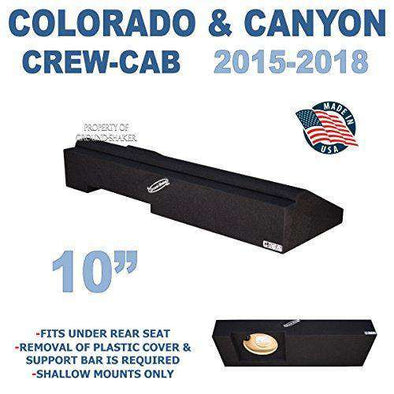 "Chevy Colorado & Gmc Canyon Crew-Cab 2015-2018 10"" Single sealed sub box - CT Sounds Car Audio"