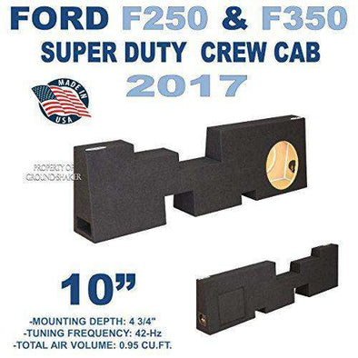 "Fits 2017-2018 Ford F250/350 Super Duty Crew-Cab 10"" Single Ported Sub Box - CT SOUNDS"