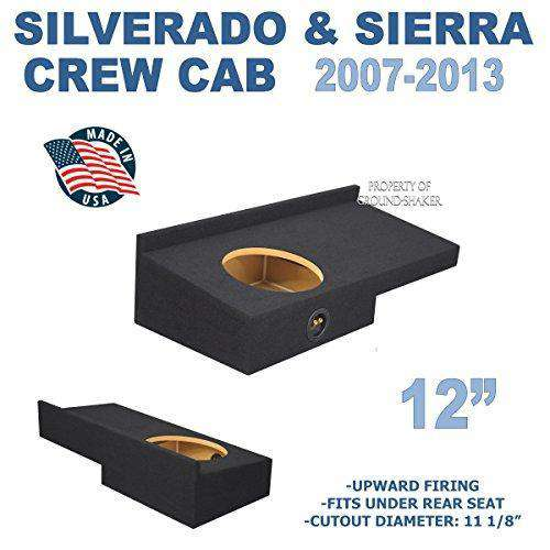 "Fits Chevy Silverado & Gmc Sierra Crew-Cab 2007-2013 12"" Single Sealed Sub Box - CT SOUNDS"