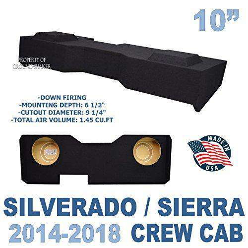 "Black 10"" Dual Sealed Sub Box Fits Chevy Silverado & Gmc Sierra Crew-Cab 2014-2018 Subwoofer Box- CT Sounds Car Audio"