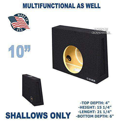 "Black 10"" Single Sealed Slim / Shallow Mount Sub Box, Fits Regular Cab Trucks Subwoofer Box- CT Sounds Car Audio"
