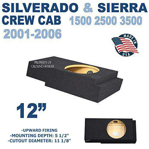 "Chevy Silverado & Gmc Sierra Crew-Cab 2001-2006 12"" Single Sealed Sub Box Subwoofer Box- CT Sounds Car Audio"