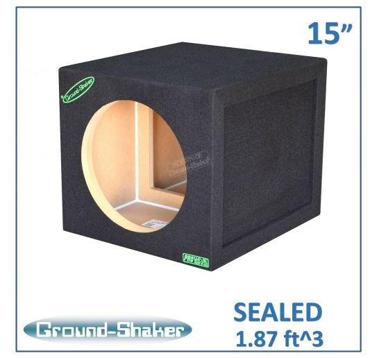 "Black 15"" Single Sealed Reinforced Sub Box Subwoofer Box- CT Sounds Car Audio"