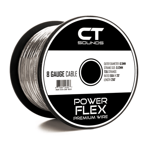 8GA Black Power Wire 250 Feet - CT SOUNDS