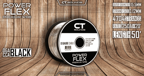 0GA CCA Black Wire 50 Feet Spool - CT SOUNDS